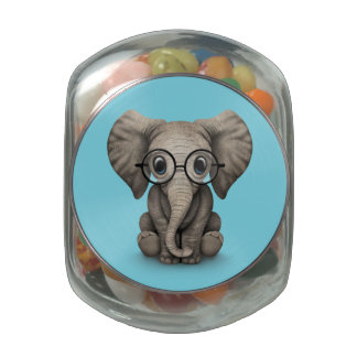 Cute Baby Elephant Calf with Reading Glasses Glass Candy Jar