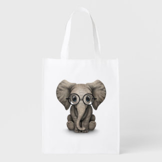 Cute Baby Elephant Calf with Reading Glasses Grocery Bag