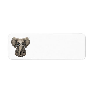Cute Baby Elephant Calf with Reading Glasses Label