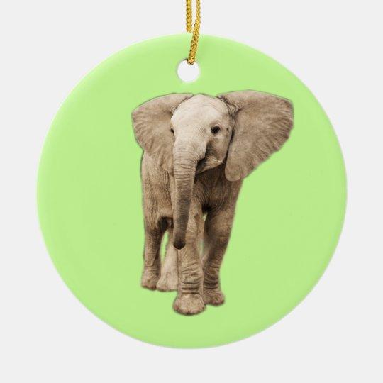Cute Baby Elephant Ceramic Ornament
