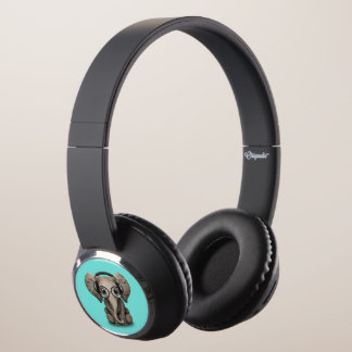 Cute Baby Elephant Dj Wearing Headphones and Glass