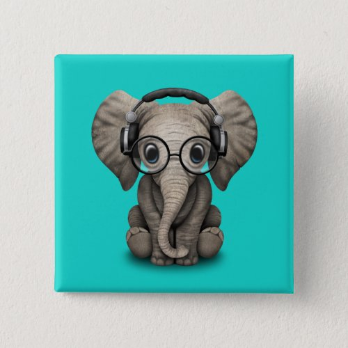 Cute Baby Elephant Dj Wearing Headphones and Glass Button