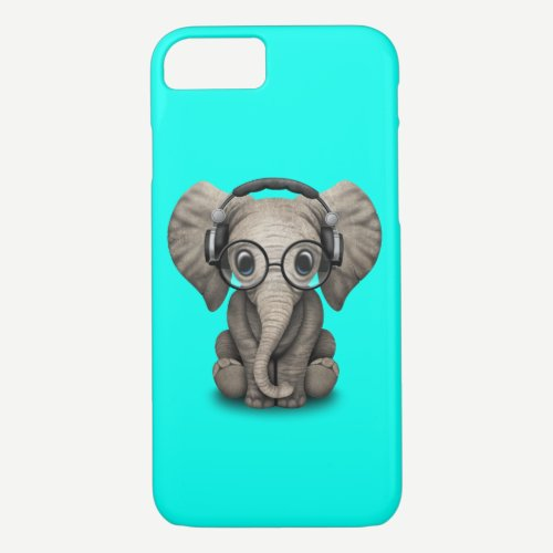 Cute Baby Elephant Dj Wearing Headphones and Glass iPhone 8/7 Case