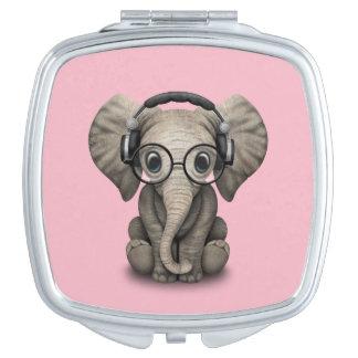 Cute Baby Elephant Dj Wearing Headphones and Glass Compact Mirror