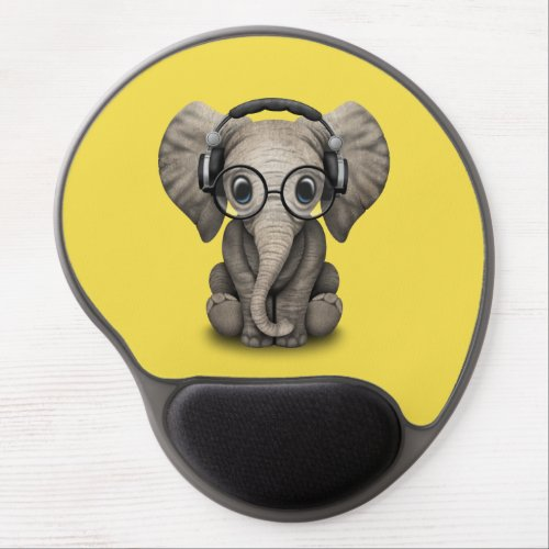 Cute Baby Elephant Dj Wearing Headphones and Glass Gel Mouse Pad