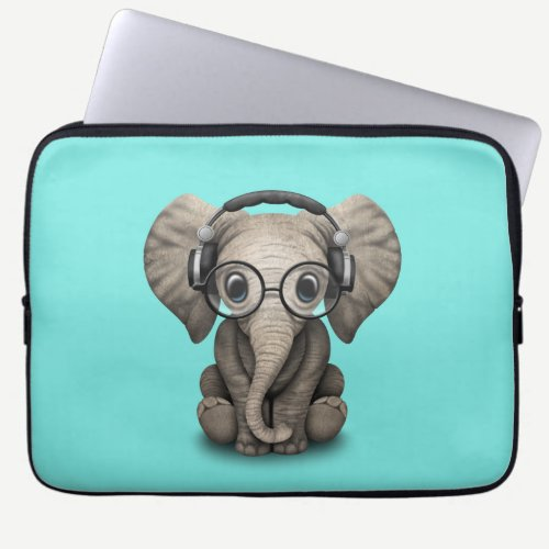 Cute Baby Elephant Dj Wearing Headphones and Glass Laptop Sleeve