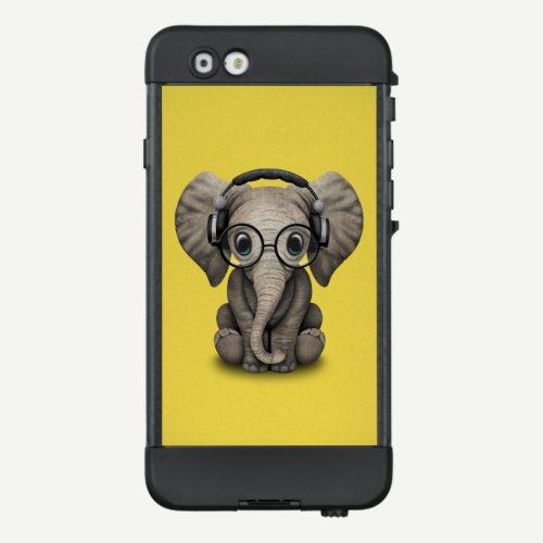 Cute Baby Elephant Dj Wearing Headphones and Glass LifeProof NÜÜD iPhone 6 Case