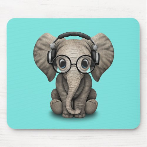Cute Baby Elephant Dj Wearing Headphones and Glass Mouse Pad