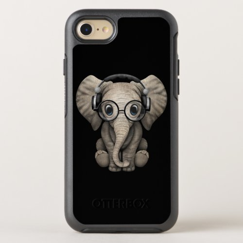 Cute Baby Elephant Dj Wearing Headphones OtterBox Symmetry iPhone SE/8/7 Case