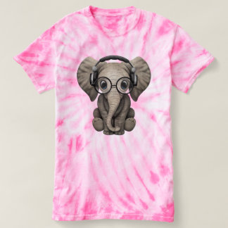 Cute Baby Elephant Dj Wearing Headphones T-shirt