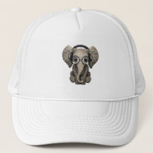 3638bc6f0e9ee Elephant With Headphones Baseball   Trucker Hats