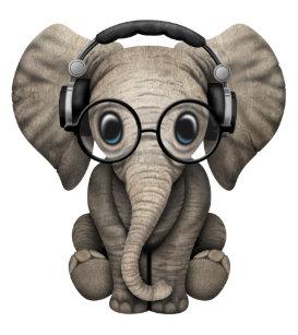 d1bb9098cb2ff Cute Baby Elephant Dj Wearing Headphones Trucker Hat