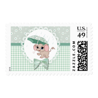 Cute Baby Elephant Green Baby Sprinkle Stamps