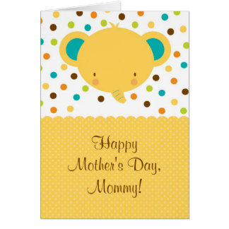 Cute Baby Elephant Happy Mother's Day Card