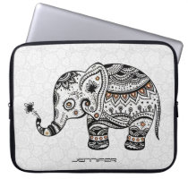 Cute Baby Elephant In black And Brown Diamonds Computer Sleeve
