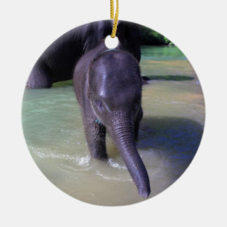 Cute baby elephant in river ceramic ornament