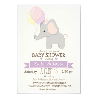 Cute Baby Elephant, Jungle Zoo Animal Baby Shower Card