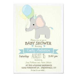 Cute Baby Elephant, Jungle Zoo Boy Baby Shower 5x7 Paper Invitation Card