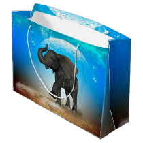 Cute baby elephant large gift bag