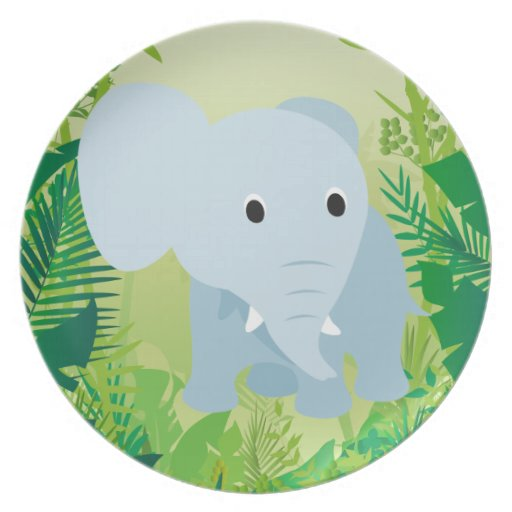 Cute Baby Elephant Party Plates
