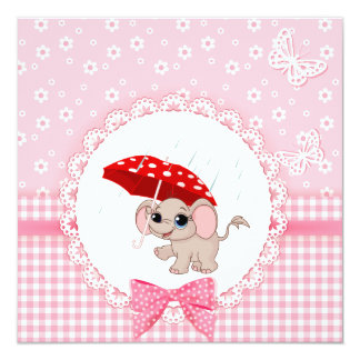 Cute Baby Elephant Pink Baby Sprinkle Shower 5.25x5.25 Square Paper Invitation Card