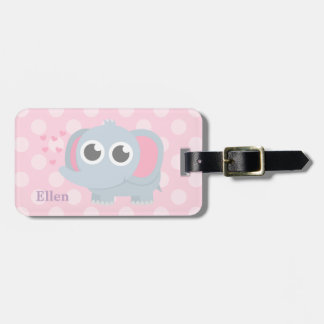 Cute Baby Elephant Pink Polka Dots For Girls Bag Tag