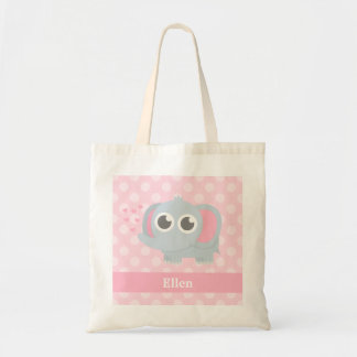 Cute Baby Elephant Pink Polka Dots For Girls Tote Bag