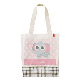 Cute Baby Elephant Pink Polka Dots For Girls Zazzle HEART Tote Bag
