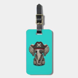 Cute Baby Elephant Pirate Bag Tag