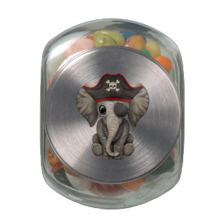 Cute Baby Elephant Pirate Glass Candy Jars