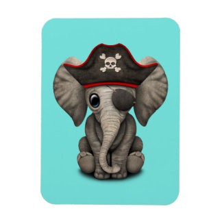 Cute Baby Elephant Pirate Magnet