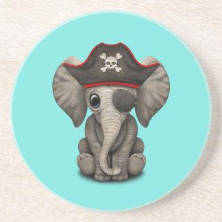 Cute Baby Elephant Pirate Sandstone Coaster