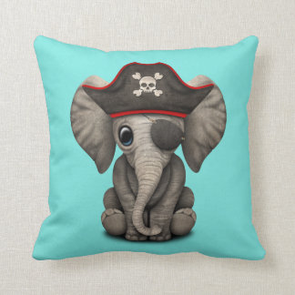 Cute Baby Elephant Pirate Throw Pillow