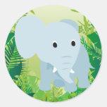 Cute Baby Elephant Round Sticker