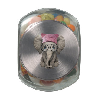 Cute Baby Elephant Wearing Pussy Hat Glass Candy Jars
