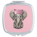 Cute Baby Elephant Wearing Pussy Hat Vanity Mirror
