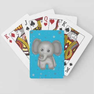 Cute baby Elephant with Blue Star background Playing Cards
