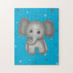 """Cute Baby Elephant with Blue Stars Background Jigsaw Puzzle<br><div class=""""desc"""">Cute little baby elephant jigsaw puzzle. The baby animals collection contains many quirky little characters full of colour,  fun and cheekiness.</div>"""