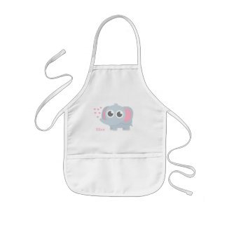 Cute Baby Elephant With Love For Girls Kids' Apron