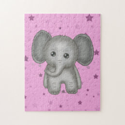Cute Baby Elephant with Pink Stars Background Jigsaw Puzzle