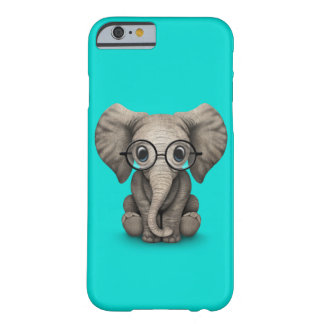 Cute Baby Elephant with Reading Glasses Blue Barely There iPhone 6 Case