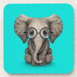 Cute Baby Elephant with Reading Glasses Blue Beverage Coaster
