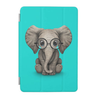 Cute Baby Elephant with Reading Glasses Blue iPad Mini Cover