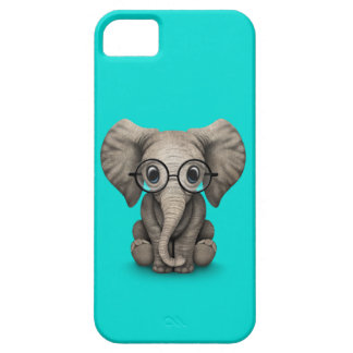 Cute Baby Elephant with Reading Glasses Blue iPhone SE/5/5s Case