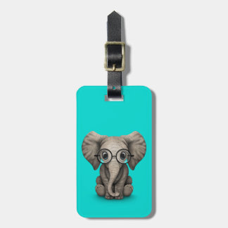 Cute Baby Elephant with Reading Glasses Blue Luggage Tag