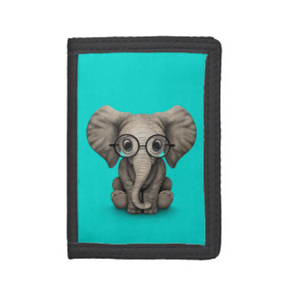 Cute Baby Elephant with Reading Glasses Blue Tri-fold Wallet