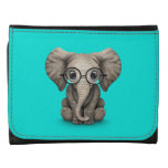 Cute Baby Elephant with Reading Glasses Blue Wallet