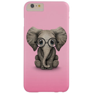 Cute Baby Elephant with Reading Glasses Pink Barely There iPhone 6 Plus Case