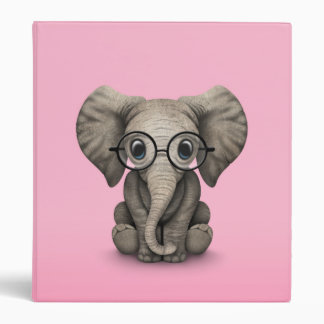 Cute Baby Elephant with Reading Glasses Pink Binder