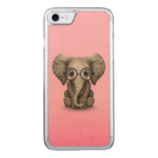 Cute Baby Elephant with Reading Glasses Pink Carved iPhone 7 Case